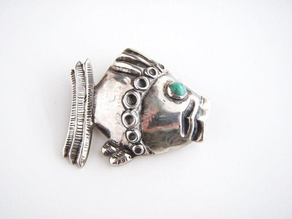 Vintage STERLING SILVER Barrera Turquoise Fish Pin Brooch