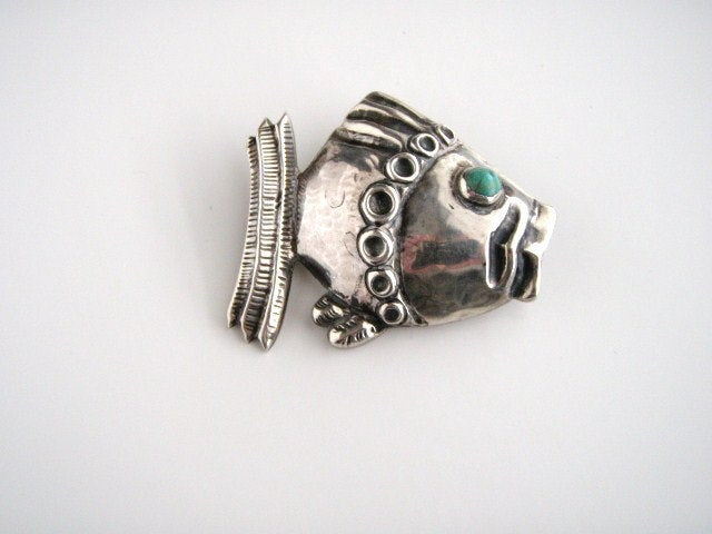 Vintage STERLING SILVER Barrera Turquoise Fish Pin Brooch, Sterling Silver, Brooch - Jewelrin