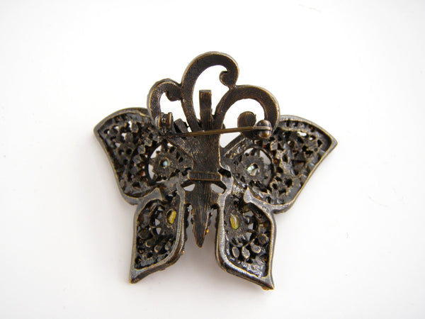 Gorgeous Barrera signed Bronze tone Multi color Rhinestones Butterfly Brooch, Barrera, Brooch - Jewelrin