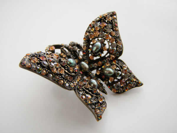 Gorgeous Barrera signed Bronze tone Multi color Rhinestones Butterfly Brooch, Barrera - Jewelrin