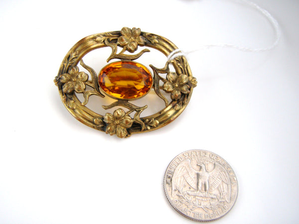 Antique Brass tone  Nouveau  Topaz Rginestone Brooch / Highly detailed and Fabulous / C Clasp, Unsigned, Brooch - Jewelrin