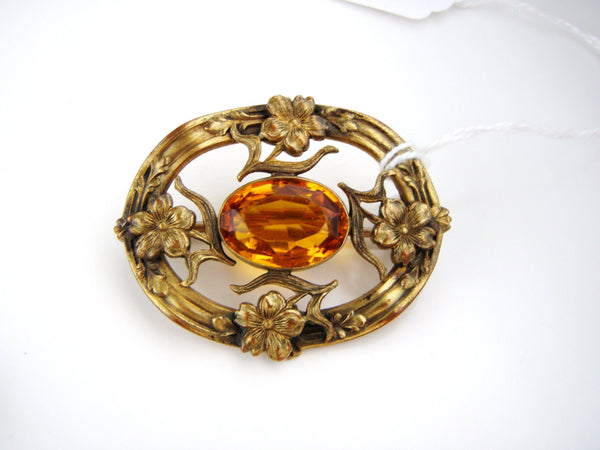 Antique Brass tone  Nouveau  Topaz Rginestone Brooch / Highly detailed and Fabulous / C Clasp, Unsigned- Jewelrin