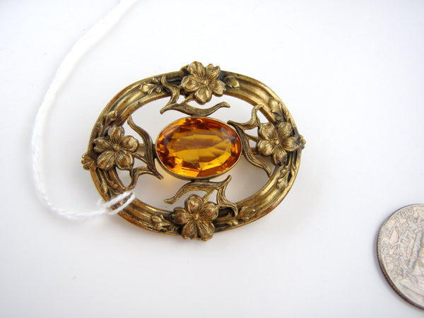 Antique Brass tone  Nouveau  Topaz Rginestone Brooch / Highly detailed and Fabulous / C Clasp