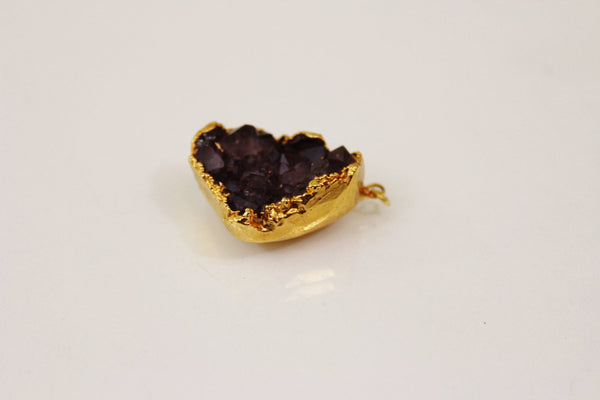 AMETHYST CLUSTER, Pendant Mineral, Crystals, Natural Gold Plated, Unsigned - Jewelrin