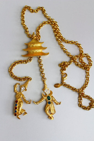 Vintage Kenneth Jay Lane KJL Necklace Pendant Brooch Pagoda with 2 Chinese dancers