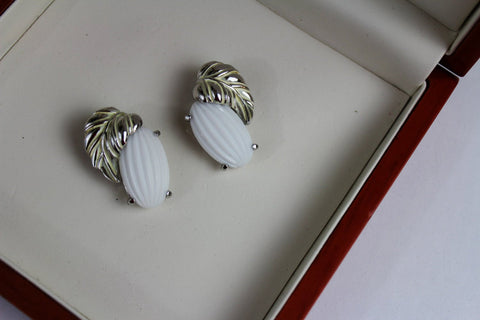Schiaparelli White    Floral Earrings, Schiaparelli, Earrings - Jewelrin