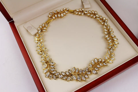 Kenneth Lane KJL Leaf Clear  Rhinestone Necklace, Kenneth Lane- Jewelrin