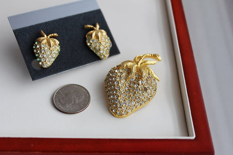 Signed Goldette Rhinestone Strawberry Brooch Earring Set Figural FRUIT, Goldette- Jewelrin