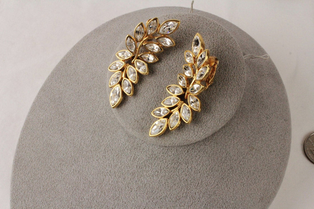 Kenneth Lane KJL Leaf  Rhinestone earrings clip on #150, Kenneth Lane- Jewelrin