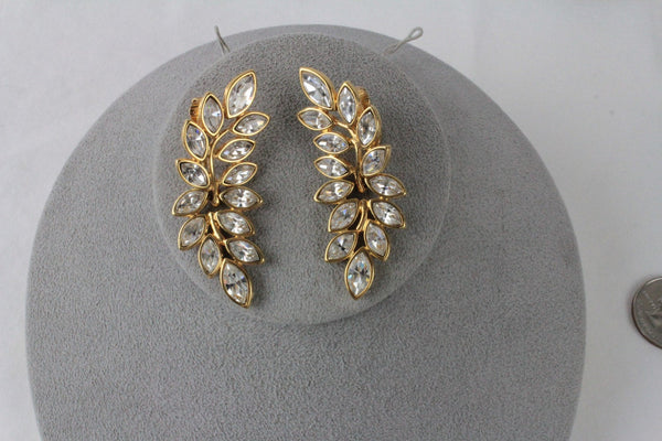 Kenneth Lane KJL Leaf  Rhinestone earrings clip on #150, Kenneth Lane, Earrings - Jewelrin
