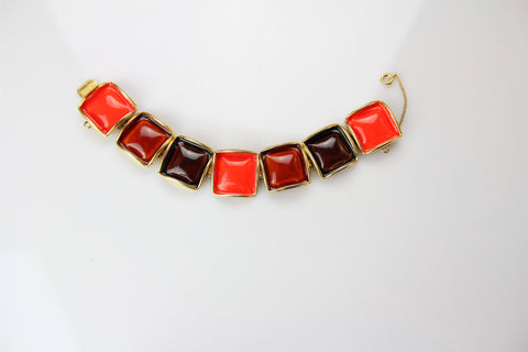 Beautiful vintage Original by Robert enamel bracelet with safety chain / # 139, Original By Robert- Jewelrin
