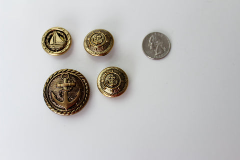 Vintage  BRASS  Round Ship Anchor Button Cap Cover Stamping FINDINGS - 4pcs #199, Unsigned, accessories - Jewelrin