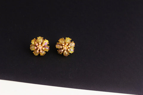 Jose Maria Barrera Goldtone Pale Pink /Coral/ faux Peritot  Flower Earrings Clip on, Barrera- Jewelrin