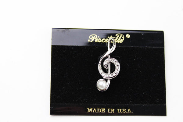 Vintage  Piscitelli Music Musical Note Treble Clef with a Pearl  Pin N 266, Piscitelli- Jewelrin