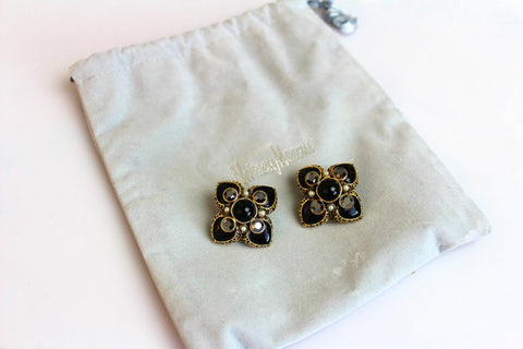 Jose Maria Barrera Black  Rhinestones Cross  Earrings Clip on, Barrera- Jewelrin