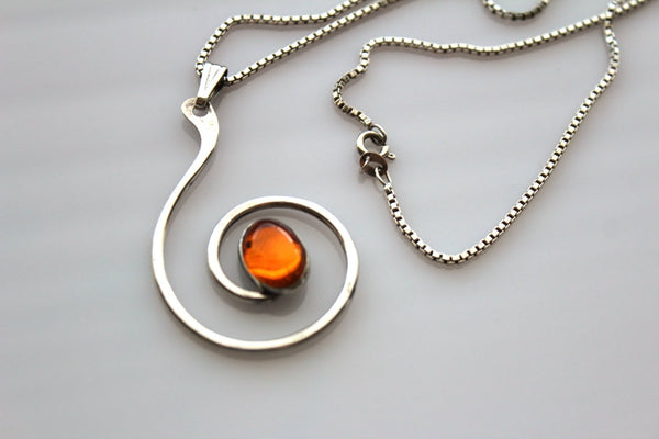 Vintage Modernist  Sterling silver Swirl   Pendant  / Necklace  with Amber like  stone # 451
