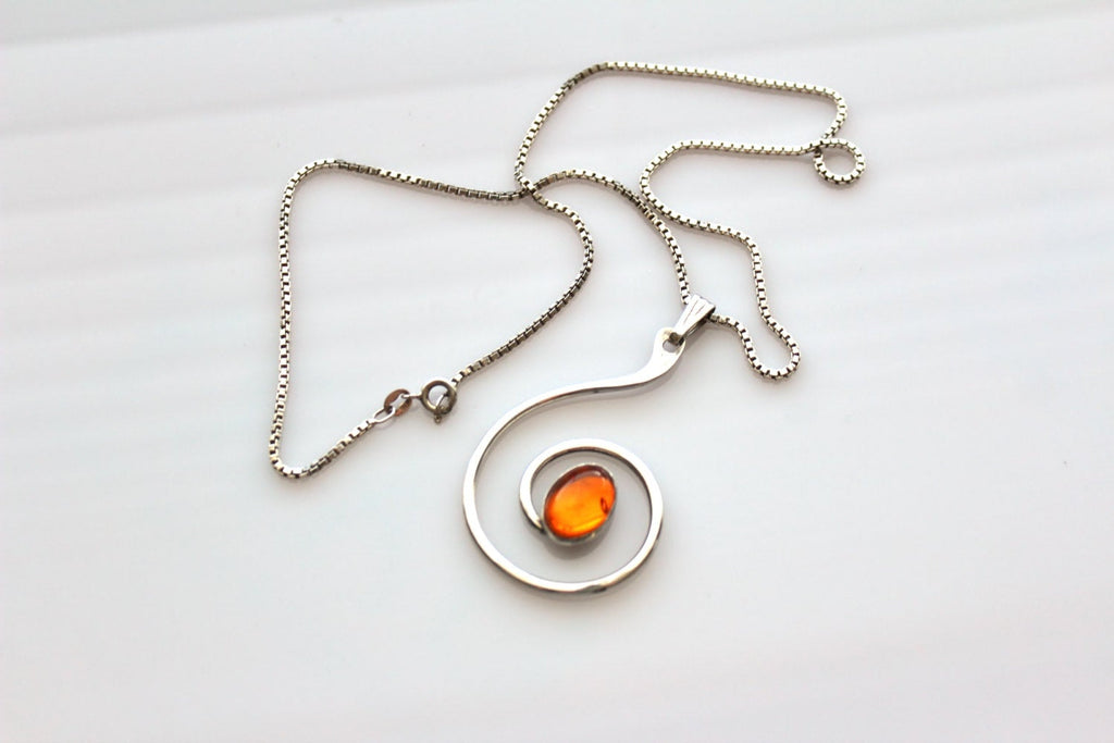 Vintage Modernist  Sterling silver Swirl   Pendant  / Necklace  with Amber like  stone # 451, Sterling Silver, Necklace - Jewelrin