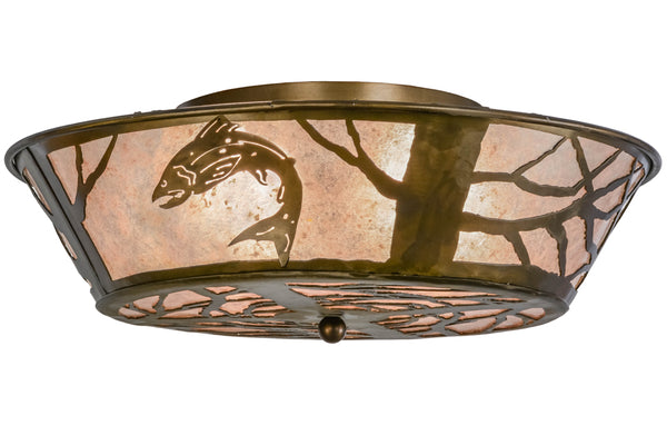 "Rustic Farmhouse Ceiling Lights Meyda 10014 - 22""W Northwoods Leaping Trout Flushmount Light"