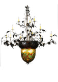 "Modern Cabin Style Ceiling Lights Meyda 100697 - 63""W Greenbriar Oak 12 Arm Chandelier"