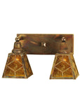 "Modern Cabin Wall Sconce Lighting Meyda 102168 - 17""W Amber Mica Diamond Mission 2 LT Wall Sconce"