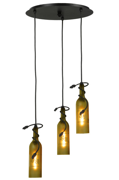 "Rustic Cabin Style Ceiling Lights Meyda 105771 - 16""W Tuscan Vineyard Etched Grapes 3 LT Wine Bottle Cascading Pendant Light"