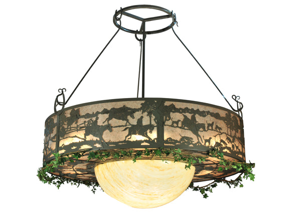 "Rustic Lodge Ceiling Lights Meyda 106194 - 72""W Fox Run Inverted Pendant Light"