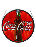 "Modern Log Cabin Novelty Lamps And Accessories Meyda 106226 - 21""W X 21""H Coca-Cola Button Stained Glass Window"