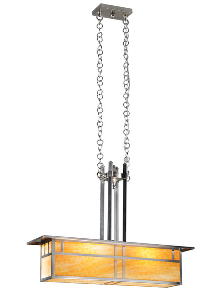 "Rustic Cabin Style Ceiling Lights Meyda 106377 - 35""L Double Bar Mission Oblong Pendant Light"
