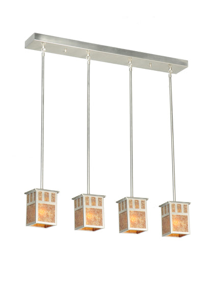 "Rustic Log Cabin Style Ceiling Lights Meyda 106381 - 36""L Double Bar Mission 4 LT Island Pendant Light"