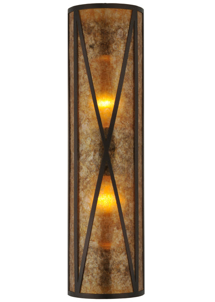 "Modern Rustic Style Wall Sconce Lighting Meyda 106559 - 8""W Amber Mica Diamond Mission Wall Sconce"