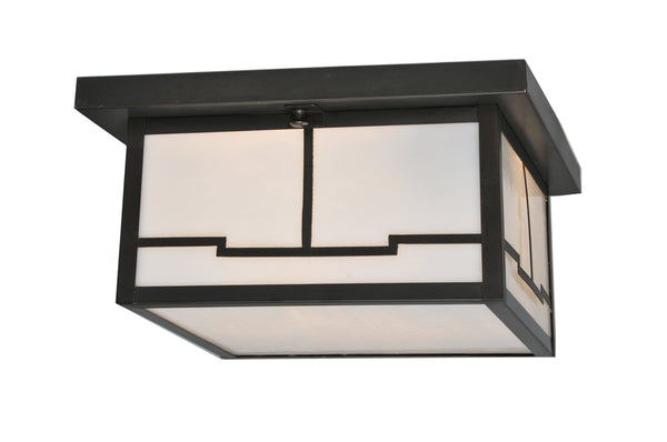 "Modern Log Cabin Style Ceiling Lights Meyda 106621 - 12""Sq Hyde Park Valley View Flushmount Light"