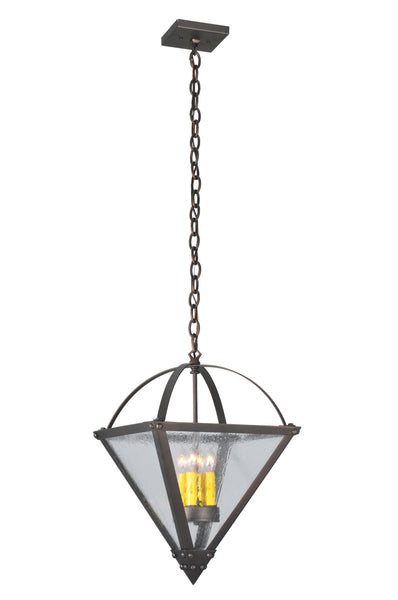 "Rustic Farmhouse Ceiling Lights Meyda 107102 - 14""Sq Pyramid Inverted Pendant Light"