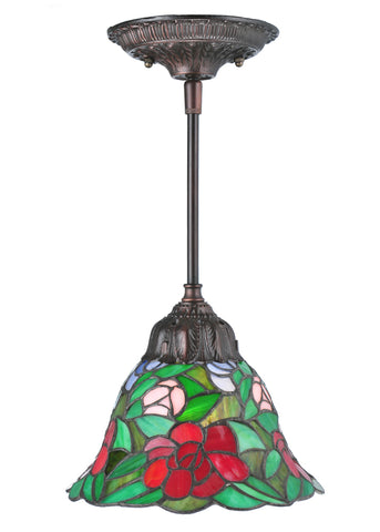 "Rustic Lodge Ceiling Lights Meyda 107145 - 8""W Begonia Mini Pendant Light"