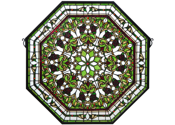 "Modern Lodge Style Windows Meyda 107223 - 25""W X 25""H Floral Stained Glass Window"