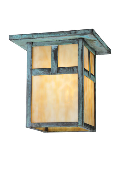 "Rustic Log Cabin Ceiling Lights Meyda 107460 - 9""Sq Hyde Park T Mission Flushmount Light"