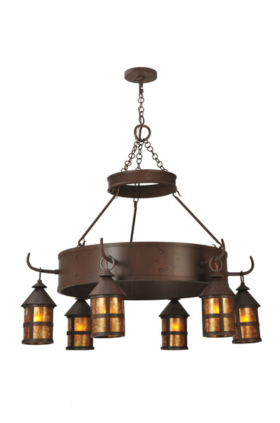 "Modern Lodge Style Ceiling Lights Meyda 107472 - 47""W Aberdeen 6 LT Chandelier"