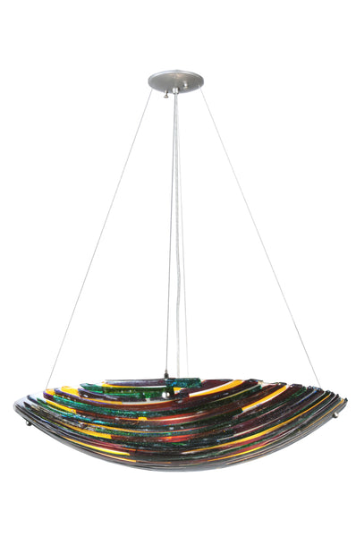 "Modern Rustic Style Ceiling Lights Meyda 108069 - 30""W Penna di Pavone Fused Glass Inverted Pendant Light"