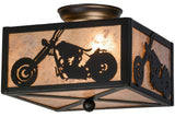 "Cabin Style Ceiling Lights Meyda 109547 - 10""Sq Motorcycle Flushmount Light"
