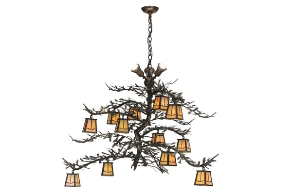 "Rustic Cabin Ceiling Lights Meyda 110031 - 52""W Pine Branch Valley View 12 LT Chandelier"