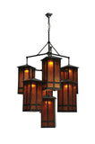 "Rustic Cabin Style Ceiling Lights Meyda 110093 - 58""W Church Street 7 LT Chandelier"