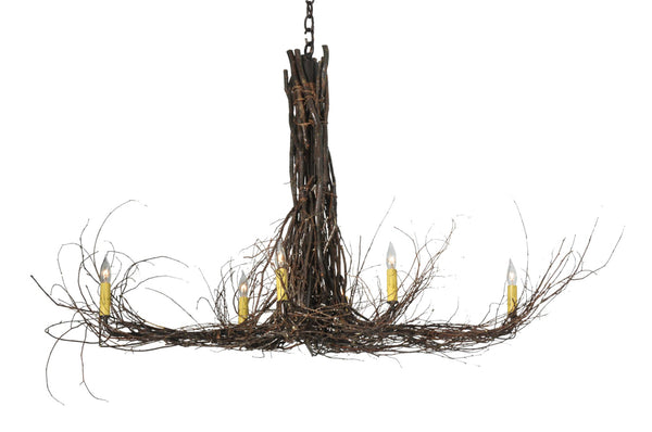"Country Ceiling Lights Meyda 110175 - 48""L Twigs 6 LT Chandelier"