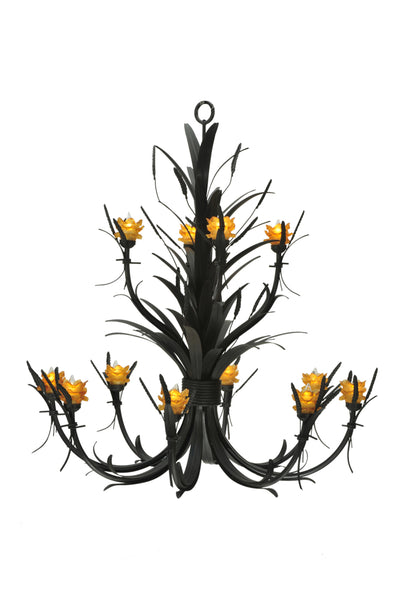 "Rustic Log Cabin Ceiling Lights Meyda 110277 - 52""W Flowering Wheat Amber 12 LT Chandelier"