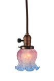"Country Ceiling Lights Meyda 110415 - 4.5""W Melon Flower Pink & Blue Mini Pendant Light"