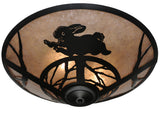 "Rustic Log Cabin Ceiling Lights Meyda 110551 - 22""W Rabbit on the Loose Flushmount Light"