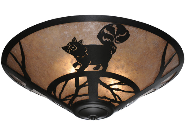 "Modern Rustic Style Ceiling Lights Meyda 110553 - 22""W Racoon on the Loose Flushmount Light"