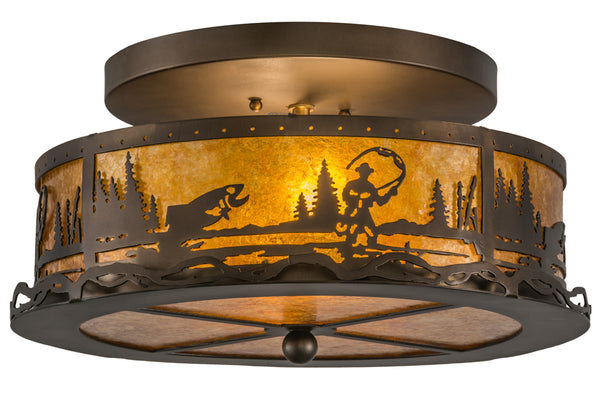 "Country Style Ceiling Lights Meyda 110647 - 16""W Fly Fishing Creek Flushmount Light"