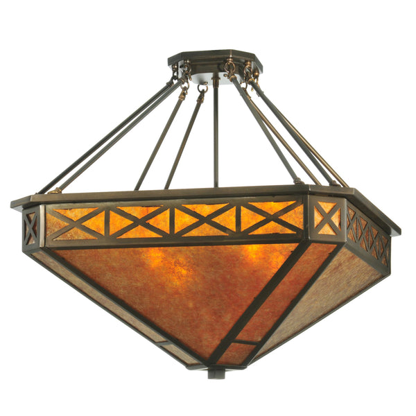 "Modern Country Ceiling Lights Meyda 110803 - 25""W Amber Mica Diamond Mission Octagon Inverted Pendant Light"
