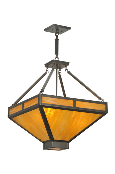 "Rustic Cabin Ceiling Lights Meyda 110845 - 18""Sq Whitewing Inverted Pendant Light"