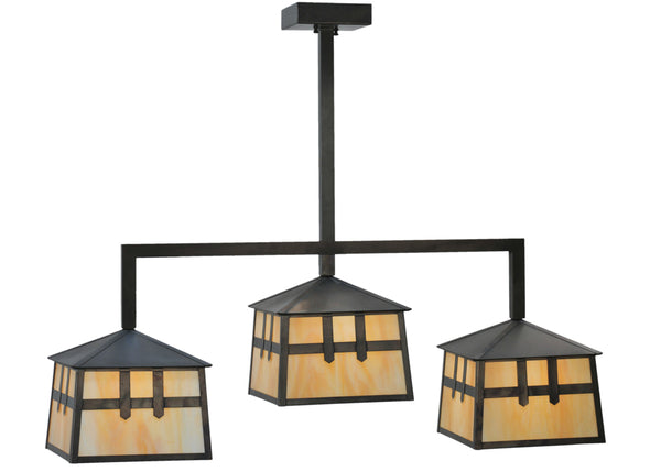 "Modern Lodge Style Ceiling Lights Meyda 110914 - 39""L Stillwater Double Cross Mission 3 LT Island Pendant Light"