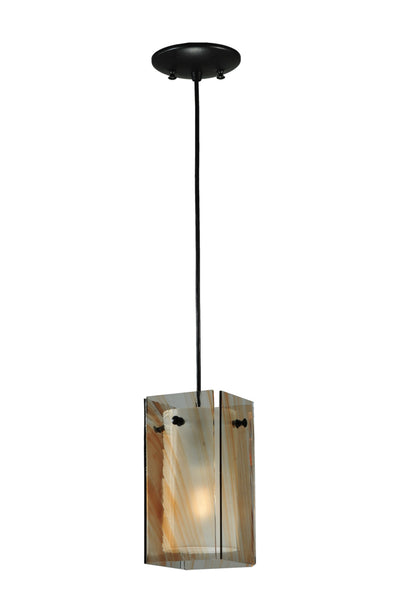 "Lodge Ceiling Lights Meyda 111279 - 5""Sq Metro Cinnamon Swirl Quadrato Mini Pendant Light"